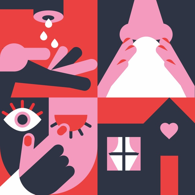 A stylized illustrated graphic with four squares depicting hand washing in the top left - blowing your nose in the top right - covering a cough with your hand in the bottom left - and a home in the bottom right