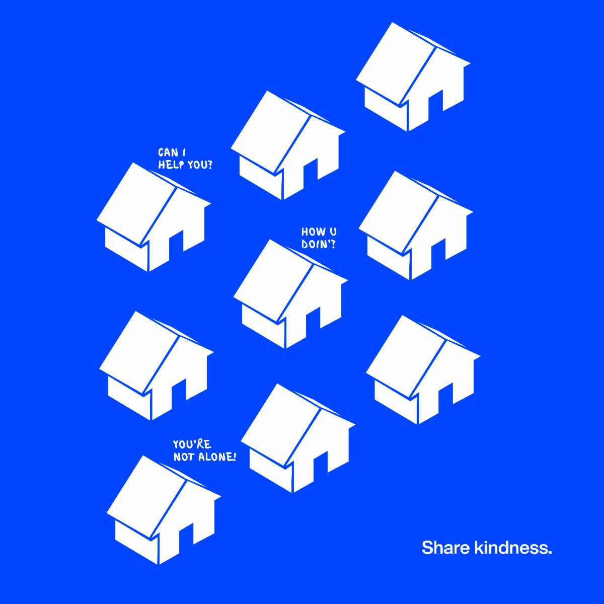 White houses checking in with question on a blue background with the phrase Share Kindness in the bottom right