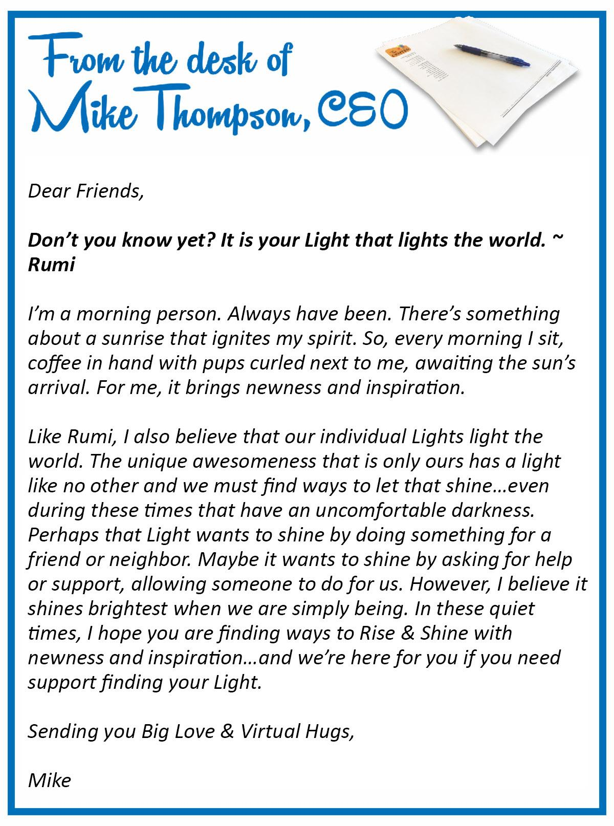 From the Desk of Mike Thompson May 20 2020
