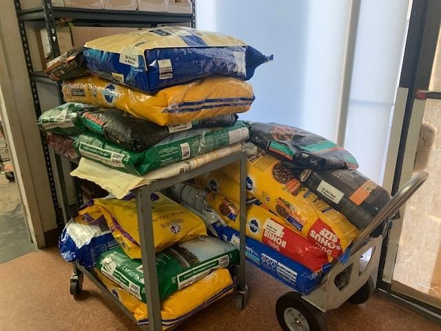 Pet food donated from the Palm Springs Animal Shelter