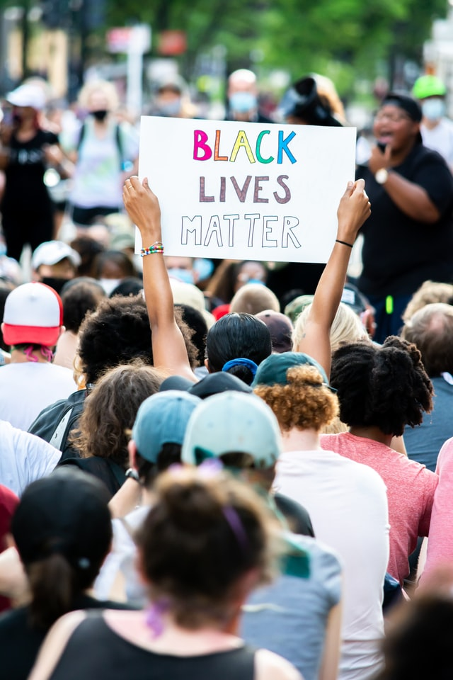 Facing the backs of a crowd near the top of the picture there is a person holding a sign that reads Black Lives Matter