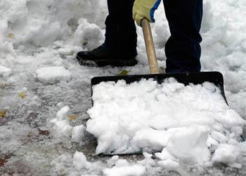 When shoveling snow, think about how your body is responding to the constant pushing to clear the snow.
