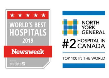 Newsweek recently ranked North York General Hospital the second best hospital in Canada and one of the top 100 hospitals in the world.