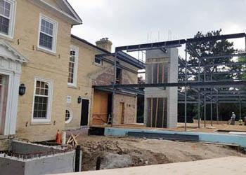 The addition to Phillips House being erected in June 2018.