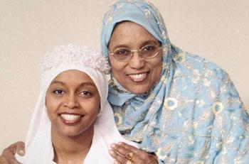 Proud mother Amina Ahmed with her daughter Fozia on her wedding day.