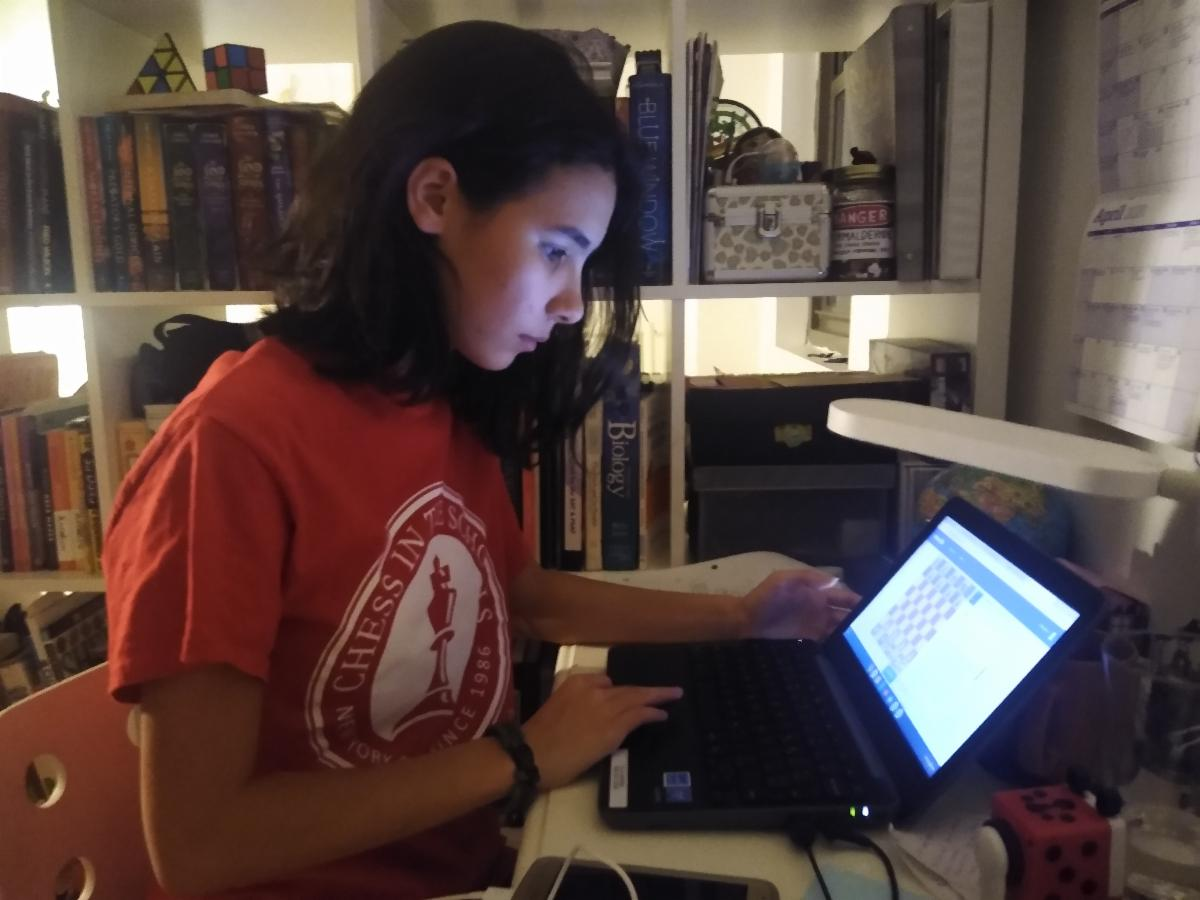 Ella at computer