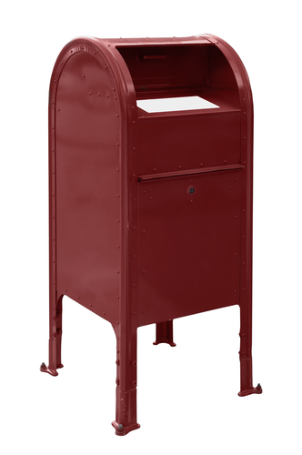 A standard red US mailbox isolated over a white background