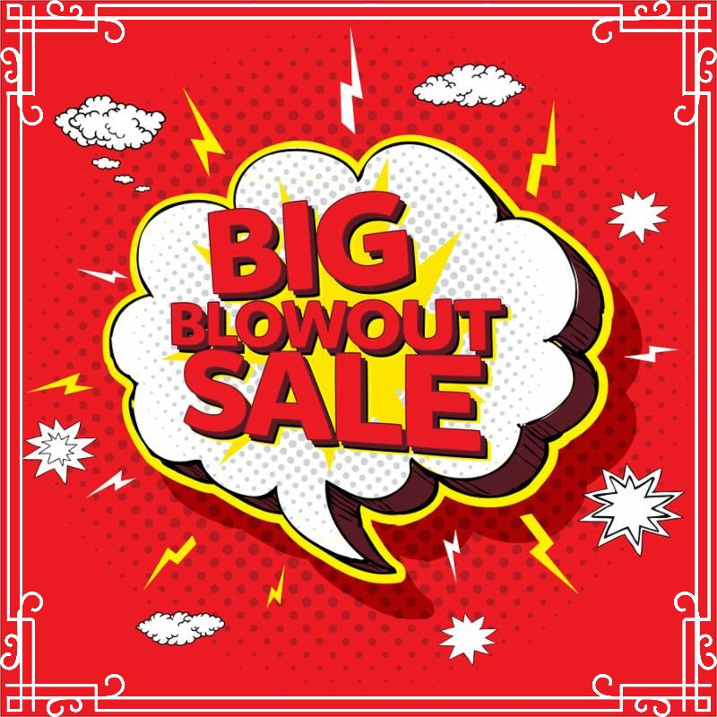 Big blowout sale pop up cartoon banner vector illustration