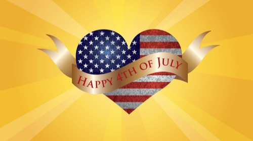 Fourth of July USA Flag in Heart Shape with Texture and Scroll with Happy 4th of July Text and Sun Rays Background Raster Illustration