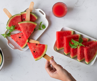 Delicious watermelon summertime snack on a plate. Dessert. Flat lay_ top view.