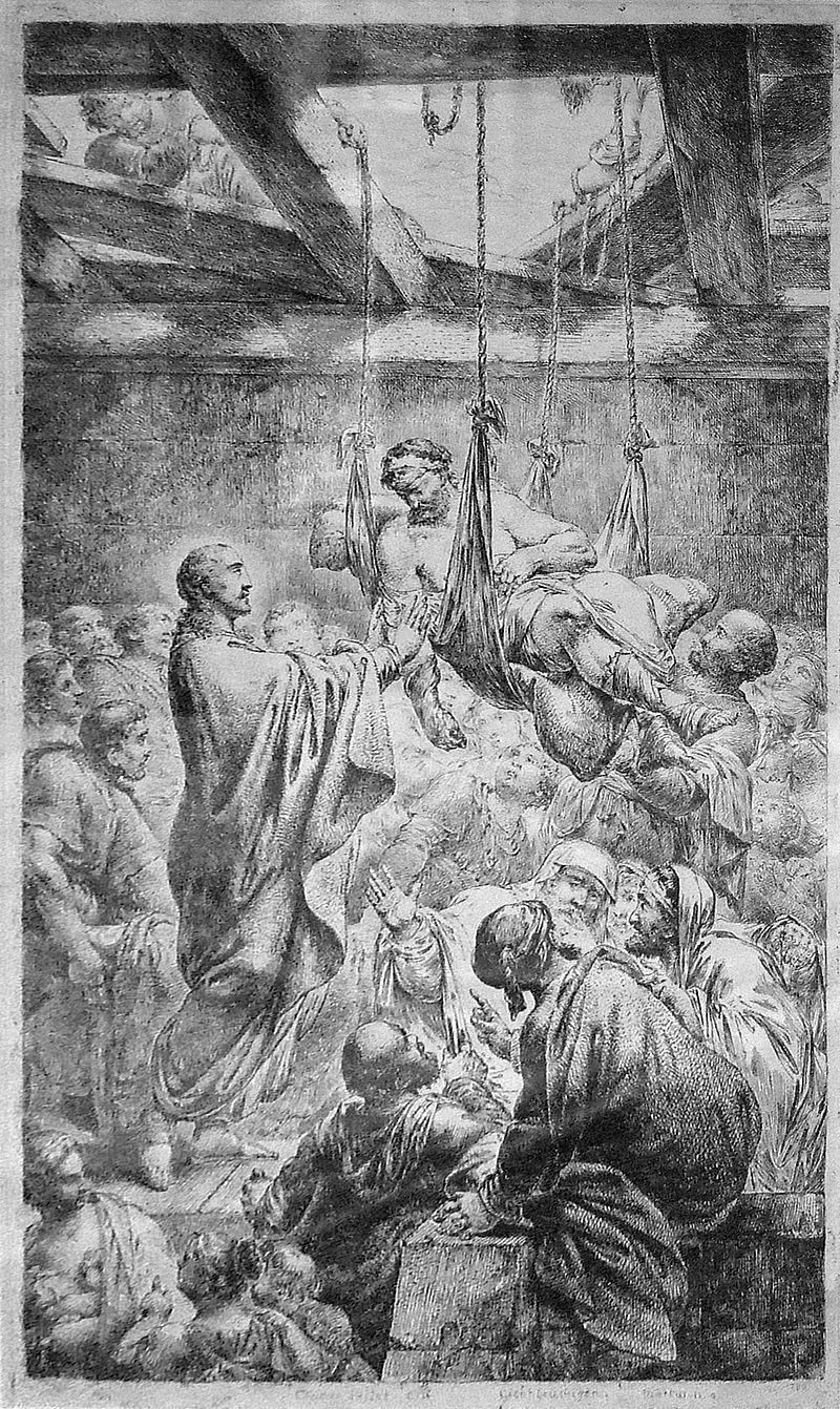 Christ healing the paralytic at Capernaum by Bernhard Rode 1780.