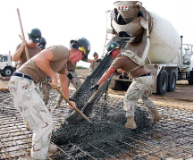 Image of men working with cement