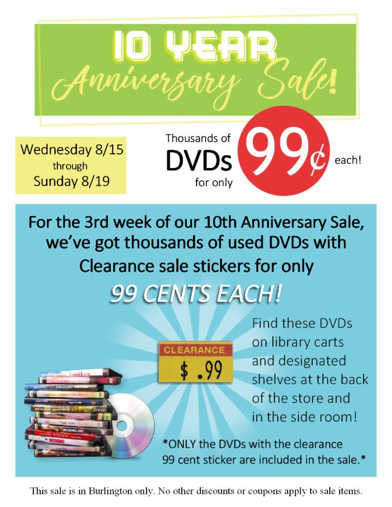 Biggest DVD and Kid's Book Sale of the Decade!