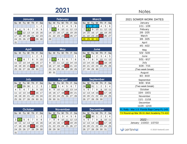 2021 Project Dates