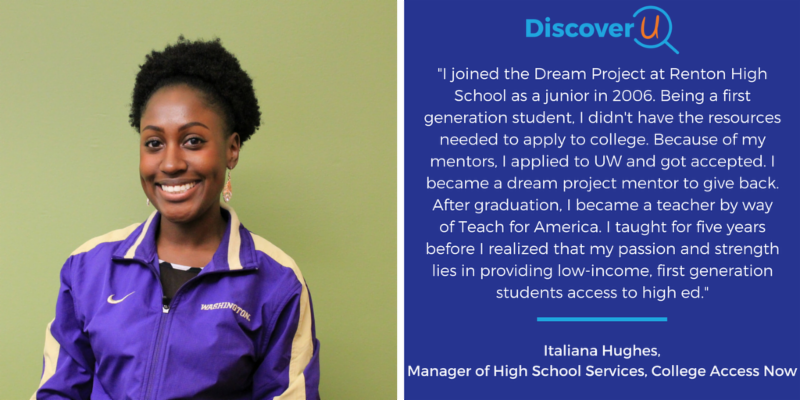 Italiana Hughes_ the Manager of High School Services at College Access Now_ sharing her story from being a first-gen student in the Dream Project to teaching to discovering her passion in college access work.