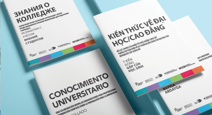 College Knowledge booklets in Russian_ Spanish_ Vietnamese_ and Somali.
