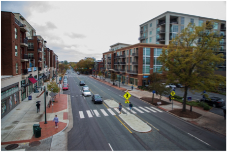 High angle view of Franklin St. in Chapel Hill, NC