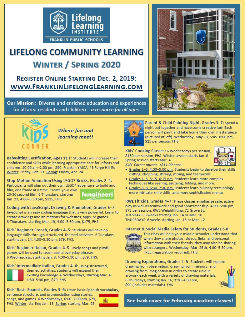Lifelong Community LEarning: 2020 Winter/Spring Registration Opens Dec. 2