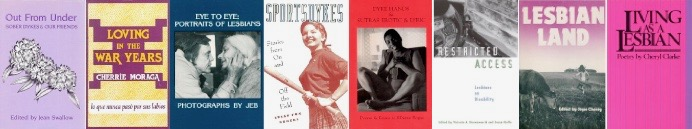 horizontal line of lesbian books covers