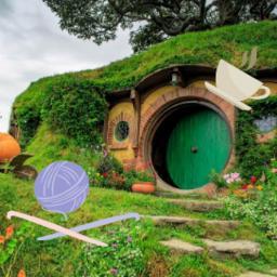 Hobbit Day hobbit home with mug and knitting yarn and needles