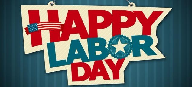 Happy Labor Day, red and blue writing, blue background, flag, and star