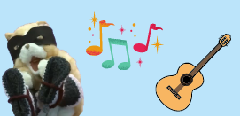 kids events with cat puppet and music notes and guitar