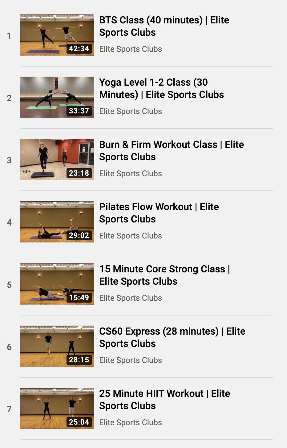 Elite Workouts YouTube Playlist