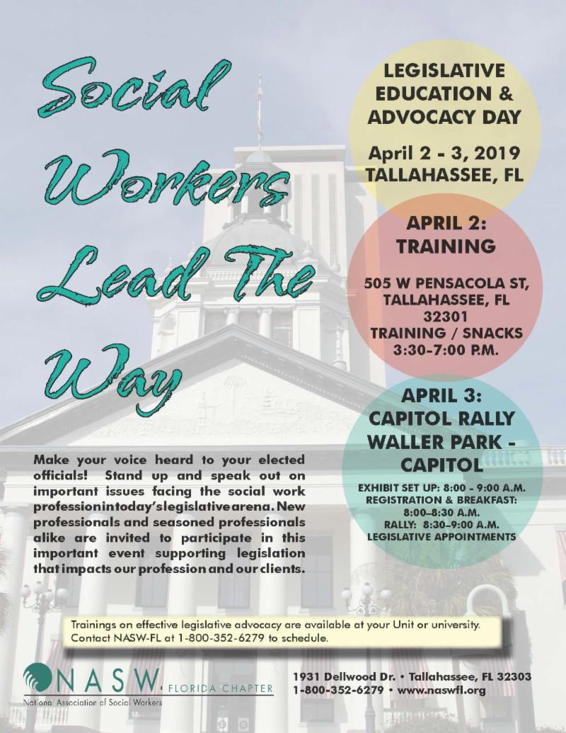 NASW-FL LEAD Flyer for April 2 - 3 in Tallahassee FL