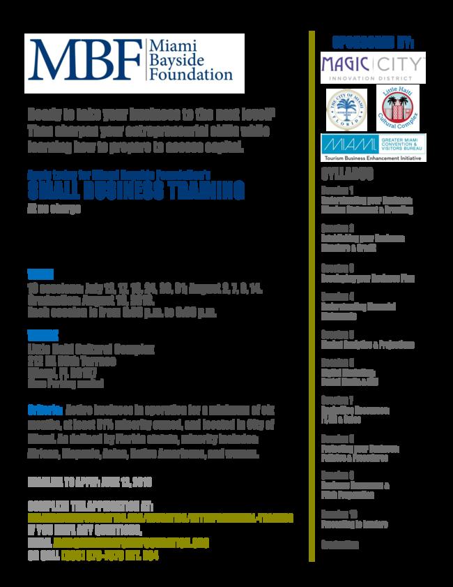 Miami Bayside Foundation Free Small Business Training!