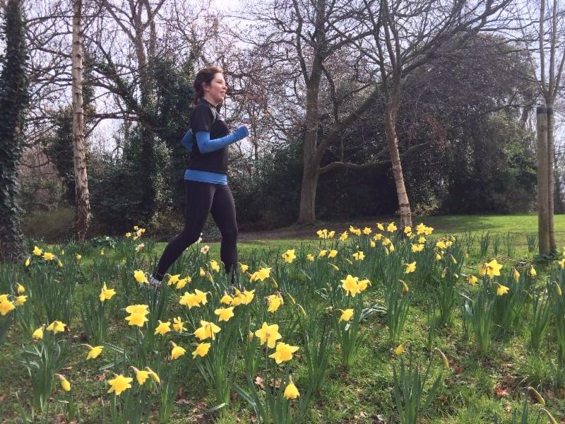 running in daffodils