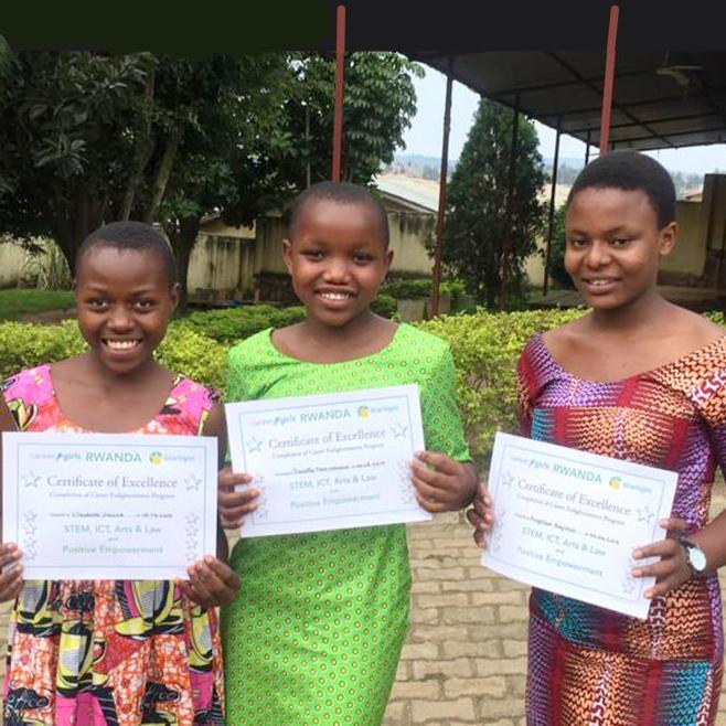 Rwanda Girls holding Certificates