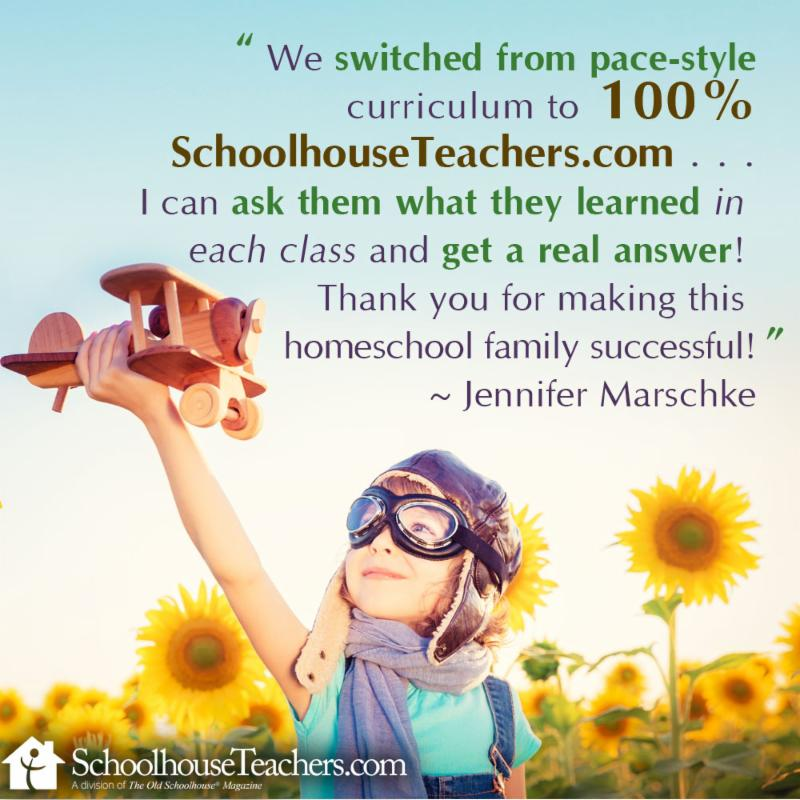 review for SchoolhouseTeachers.com from a homeschool family that switched from pace-style curriculum to 100% schoohouseteachers.com