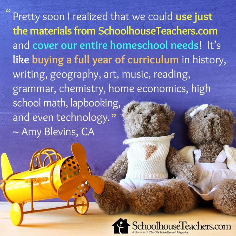 """a product review from a homeschool mama who says, """"... we could use just the materials from SchoolhouseTeachers.com and cover our entire homeschool needs!"""""""