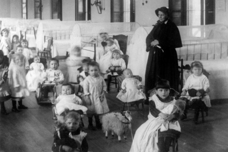 Sister Mary Irene Fitzgibbon and children at the Foundling
