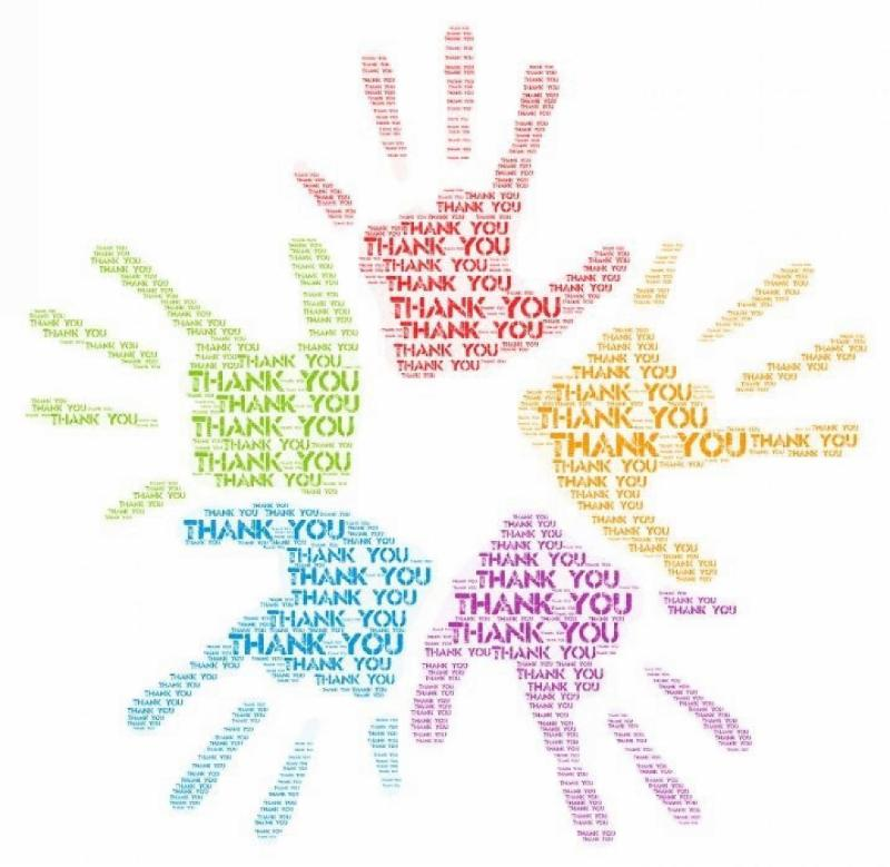 Thank you in handprints