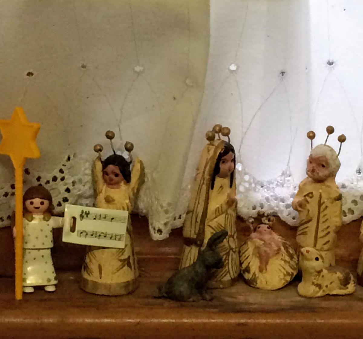 figurines of the Holy Family at Christmas