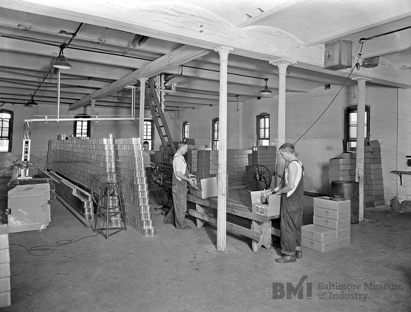 American Malt Company workers packaging