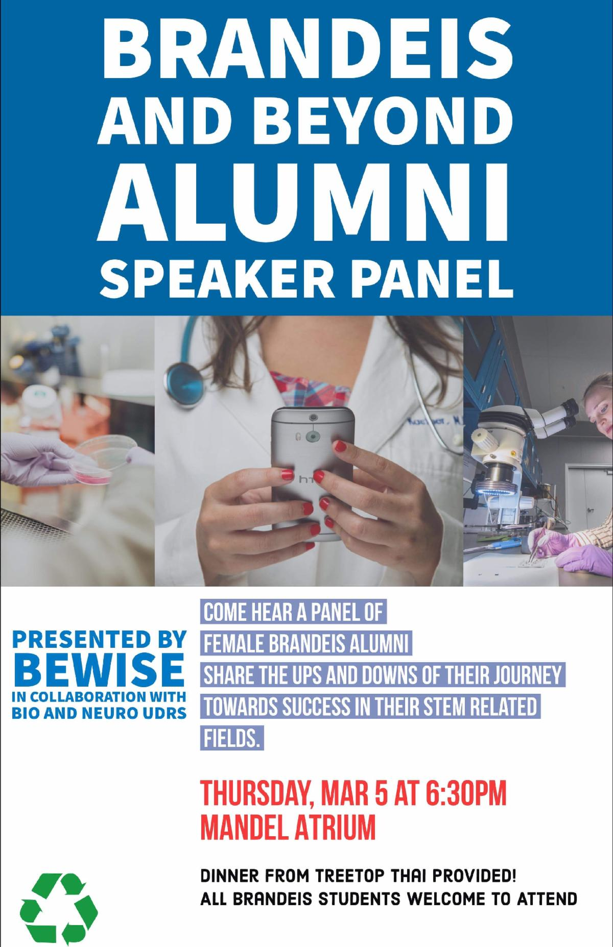 A flyer of Brandeis and Beyond Alumni Speaker Panel with pictures of women in scientific settings.