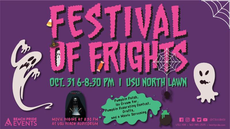 Festival of Frights on Wednesday October 31 from 6 to 8 30 pm at the USU North Lawn