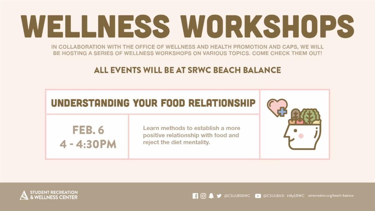 The first Wellness Workshop, Understanding Your Food Relationship, takes place on Feb. 6 from 4 to 4:30 p.m. at SRWC Beach Balance.