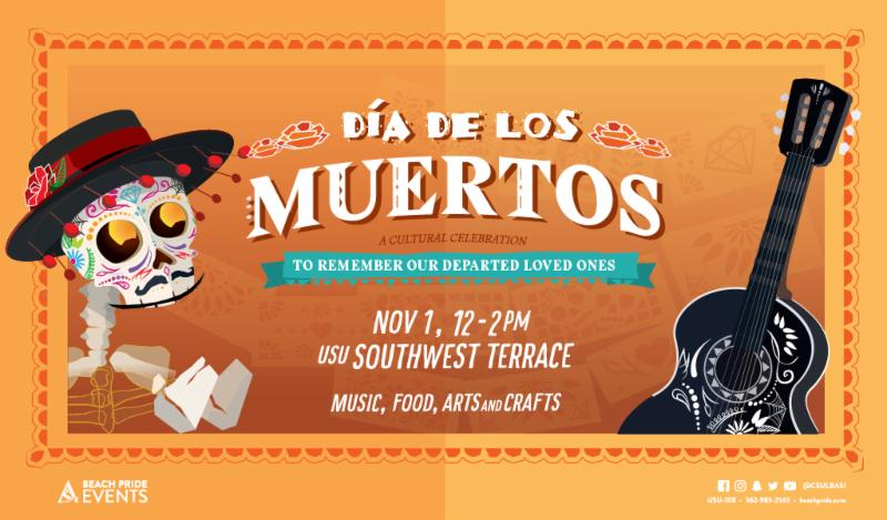 Dia de Los Muertos on Thursday  November 1 from 12 to 2 pm at the USU Southwest Terrace