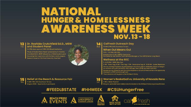 Learn about student wellness issues during National Hunger and Homelessness Awareness Week beginning on Monday Nov. 13.