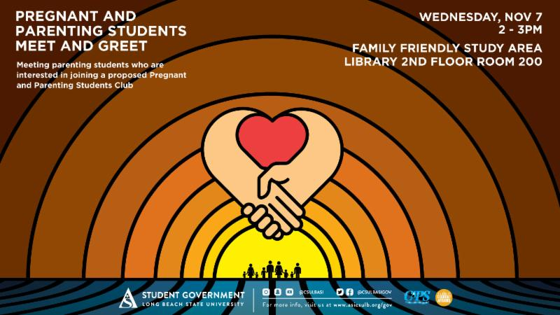 Pregnant and Parenting Students Meet and Greet on Wednesday November 7 from 2 to 3 pm at the Library 2nd floor Room 200