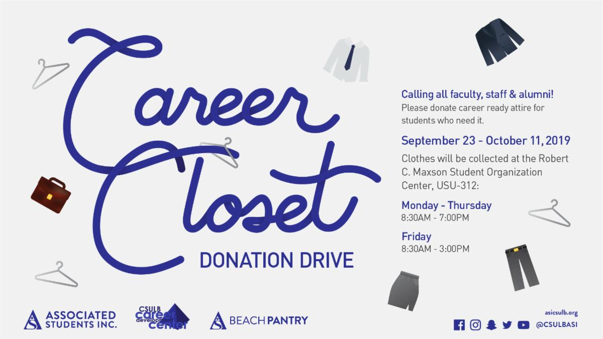 During September 23 to October 11 USU room 302 will be accepting career ready attire donations