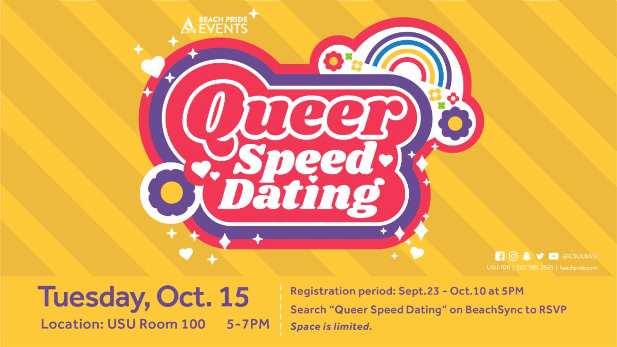 Queer Speed Dating will take place on October 15 from 5 to 7 pm in USU Room 100.