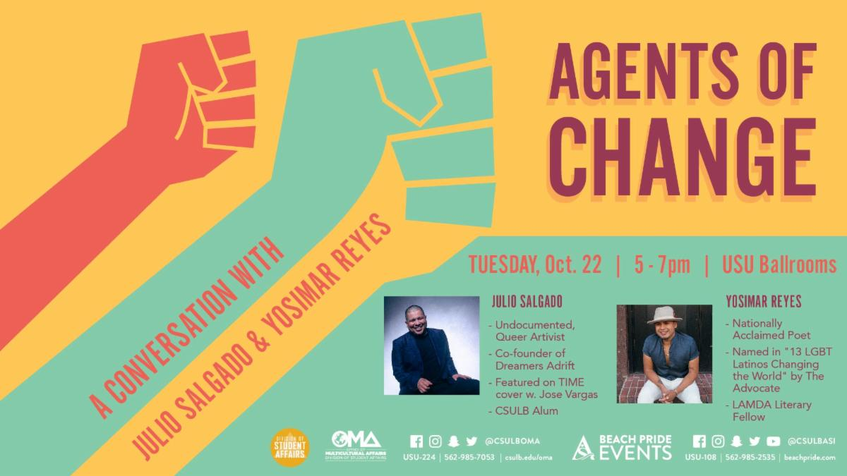 Agents of Change will feature activist Julio Salgado on Tuesday October 22.