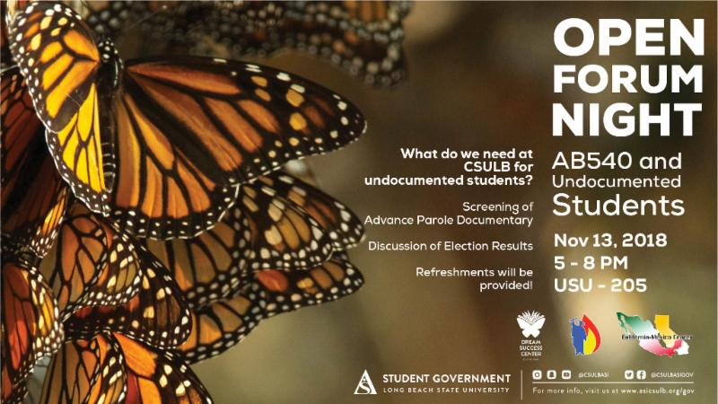 Open Forum Night on Tuesday November 13 from 5 to 8 pm at the USU Rm 205