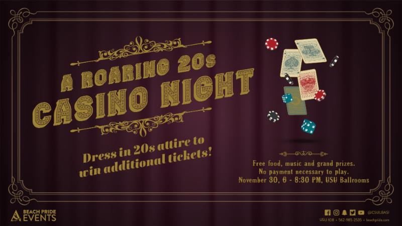 Roarinf 20s Casino Night on Friday November 30 from 6 to 8 30 pm at the USU Ballrooms
