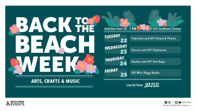 Back to the Beach Week on Tuesday January 22 through Friday January 25 Activities from 12 to 1 PM at the USU Southwest Terrace