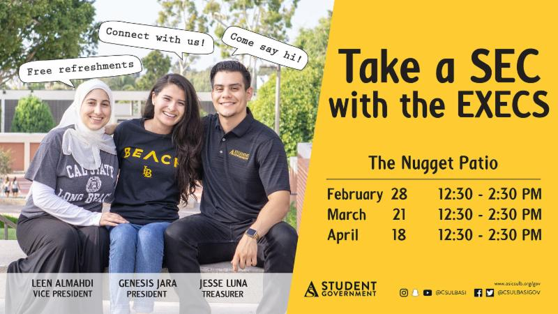 Take a Sec with the Execs on Thursday March 21 from 12 30 to 2 30 at the Nugget Patio
